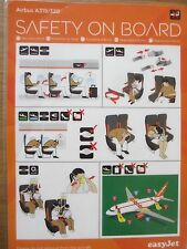 easyJet Airbus A319/320 airline safety card ESC-A319/320-2014-V1