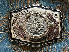 NEW HAND CRAFTED  ST CHRISTOPHER BELT BUCKLE SILVER METAL,WESTERN COWBOY BIKER