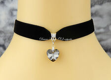 Black Velvet Choker/Necklace 16mm Silver Grey Crystal Heart Gothic/Prom/Party UK