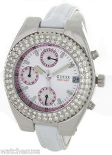 Guess Women Stainless Steel CaseSilver Dial White Leather Quartz Watch G15074L
