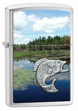Zippo Windproof Fishing Emblem Lighter, Fish In Lake, 29408, New In Box