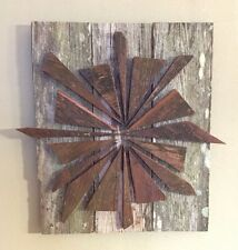 RUSTIC SUN RECLAIMED WOOD STARBURST PATTERN WALL DECOR
