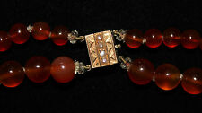 Vintage carnelian agate bead necklace yellow metal acid tests 14ct gold clasp