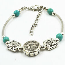 1 PCS Fashion Jewelry Silver Pld Round Square Flower Turquoise Beads Bracelets