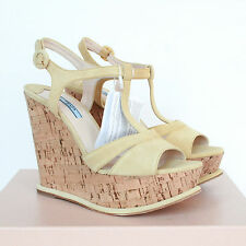 PRADA $855 pale yellow suede sandals cork wedge heel platform shoes 40-ITL NEW