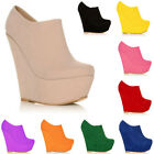 Girl Ladies Platform High Heels Wedge Suede Shoes Ankle Boots Wedges Size UK 2-9