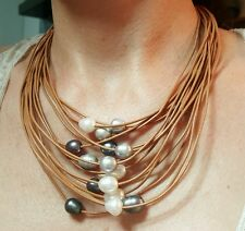 Waterfall of freshwater pearls brown leather necklace grey black Hawaii style
