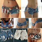 Sexy Women Booty Micro Mini Hot Pants Frayed Distressed Denim Jeans Shorts Fade
