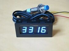 BLUE LED Digital Tachometer 9999 RPM Speed Meter+Proximity Switch Sensor NPN 12V