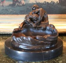 Elegant Male Nude Lovers Gay Couple Bowl Dish Bronze Marble Statue Sculpture Art