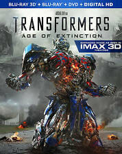 TRANSFORMERS AGE OF EXTINCTION 4 Disc BLU-RAY 3D + BLU-RAY + DVD Discs SPOTLESS