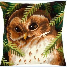 VERVACO Quickpoint Cross Stitch PILLOW Cushion Kit Brown OWL