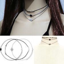 3pcs/set Fashion Womens Silver Multi-layer Chain Choker Statement Bib Necklace