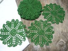 """dozen(12 psc) Hand Crochet Doilies 6""""  D.Green  Vintage Lace Party Craft Motifs"""