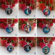 wholesale 9pcs Baby girl Princess Characters pendants necklace Jewelry