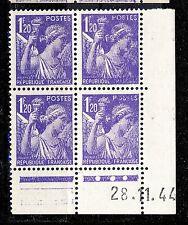 FRANCE - 1944 - N°651 1fr20 IRIS COIN DATÉ du 28.11.44 (3 points blancs) - TB