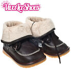 Girls / Boys Toddler - Leather Squeaky Boots - Brown with Fleece Inners