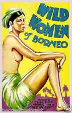 WILD WOMEN OF BORNEO Vintage Movies Advertising CANVAS PRINT 24x33 in.