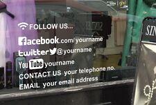 Personnalisé de médias sociaux fenêtre autocollant, decal facebook, twitter, instagram