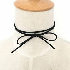 BOHO THIN FAUX SUEDE BLACK WRAP AROUND STRING CHOKER BOW 120cm NECKLACE JEWELRY