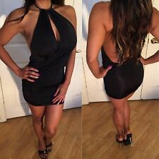 Connies Open Back Side Cleavage Black Micro Mini Dress S