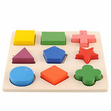 Baby Educational Learning Toy Wooden Geometry Puzzle Game Math Building Block
