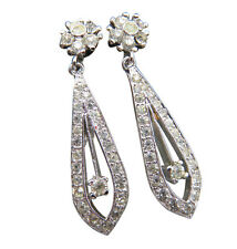 Panetta Vintage Clip Earrings Silver Pave Crystal Rhinestone Large Designer 617f
