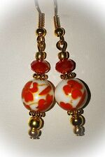 Dangle  Earrings with Ceramic beads  ...Red-Orange/White & Gold...Beautiful...