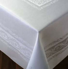 Thomas Ferguson Fine Scroll White Linen Double Damask Rec Tablecloth 72inx108in