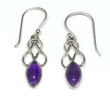 Handmade in 925 Sterling Silver, Real Amethyst Celtic Drop Earrings With Box