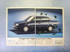 QUATTROR992-PUBBLICITA'/ADVERTISING-1992- VOLKSWAGEN VENTO -2 fogli