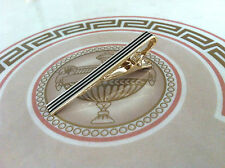 Mens 5.5CM Tie Bar -Gold & Black Stripe- Wedding Clip Stainless Steel Clasp Pin