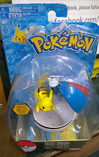 Pokemon Pikachu  Figure  Clip and Carry Poke Ball with  Attack Tag Tomy Carded