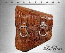 La Rosa Brown Alligator Emboss Leather Harley Softail Chopper Bobber Saddle Bag