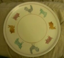 """13"""" Round ITALIAN PLATTER / Large Plate Farm Animals Chicken Cow Pig 530/5 ITALY"""