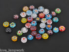 50pcs 8mm Glass Crystal Charms Millefiori Findings Lampwork Spacer Beads Mixed