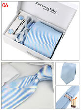Mens Tie Set Dress Silk Tie Cufflinks Hanky Tie Clip Gift Box Blue with Strips