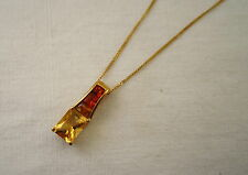 GENUINE 9 CARAT GOLD PENDANT WITH 9 CARAT GOLD CHAIN SET WITH GOLDEN SAPPHIRES.