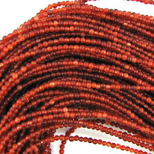 "2mm jade round beads 15"" strand seed orange red"