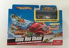 NIB Mattel Hot Wheels Color Shifters Creatures Croc Rod Crash Launch Set & Car