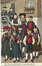 Schwarzwald, Kinder in Trachtenkleidung, Prägekarte, 1911