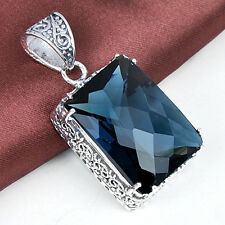 59 Ct ! Handemade Huge London Blue Topaz Solid Vintage Silver Pendant