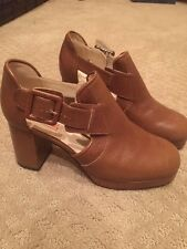 ORLA KIELY FOR CLARKS THE DILLY Brown  LEATHER PUMP BOOTIE US Size 7m