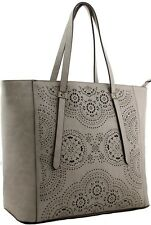 Ladies Women's Fashion Taupe Celebrity Bag Designer Look Handbag Stylish Handbag