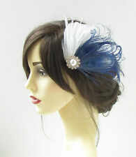 White Navy Blue Silver Peacock Feather Fascinator Vtg Hair Clip Bridal 1920s 318