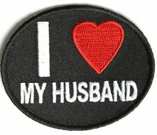 3392, I Love My Husband With Heart Oval Shaped Embroidered Patch