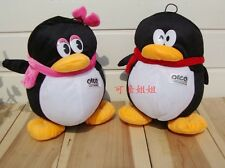 a pair of cute QQ penguin toys plush QQ girl and QQ boy dolls gift about 20cm