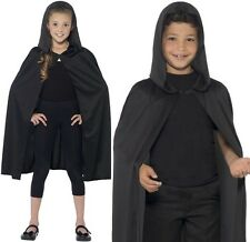 Halloween Childrens Fancy Dress Hooded Cape Black Kids Unisex Cloak by Smiffys