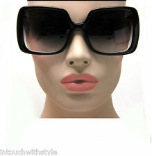 New Women's Vintage Style Black XL Oversized Jackie O Sunglasses Gradient Lens
