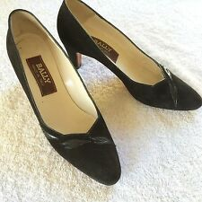BALLY Black SUEDE PUMPS 7.5 AAA Made in Italy Heels Shoes